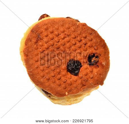 Isolate Raisin Scone, A Closeup Photo Image On Surface Of Bottom Side Of Raisin Scone Present A Deta