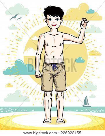 Sweet Little Boy Young Teen Standing Wearing Fashionable Beach Shorts. Vector Attractive Kid Illustr