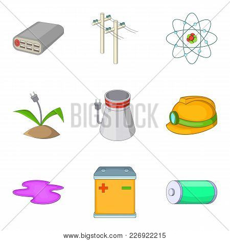 Pure Energy Icons Set. Cartoon Set Of 9 Pure Energy Vector Icons For Web Isolated On White Backgroun