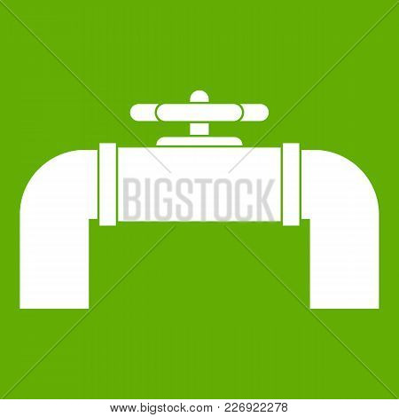 Industrial Pipe Valve Icon White Isolated On Green Background. Vector Illustration
