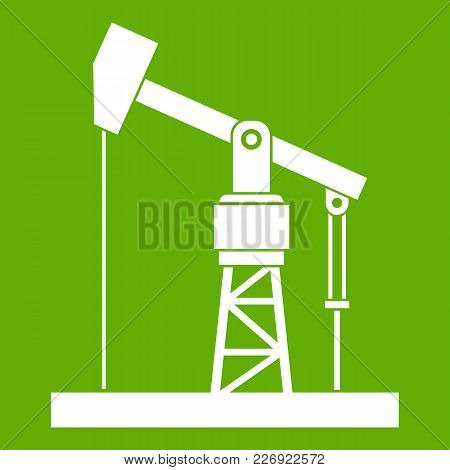Oil Pump Icon White Isolated On Green Background. Vector Illustration