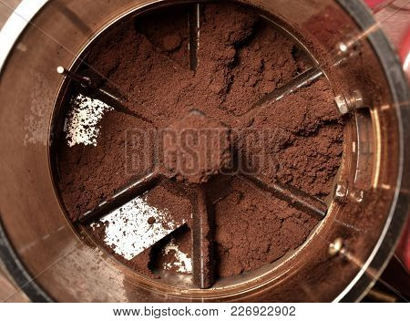 Coffee Powder In Grinds Container, A Top View Closeup Photo Of Coffee Powder In Grinds Container Aft