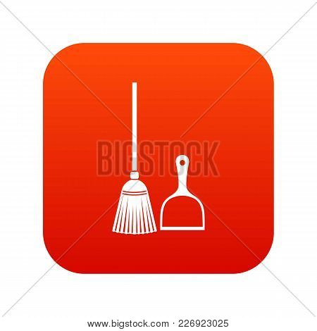 Broom And Dustpan Icon Digital Red For Any Design Isolated On White Vector Illustration
