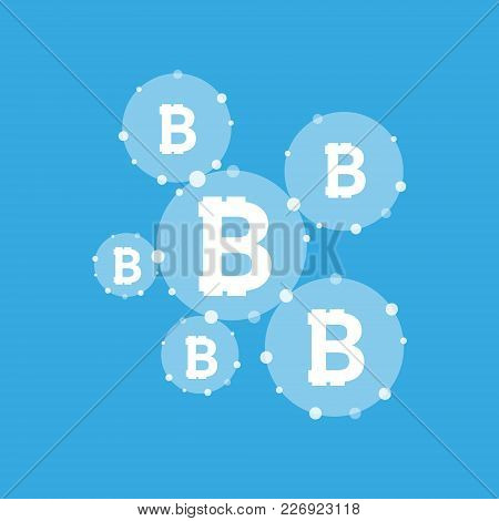 Bitcoin Currency System Peering Network Links Illustration Background. Vector