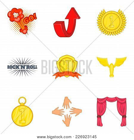 Prosperous Icons Set. Cartoon Set Of 9 Prosperous Vector Icons For Web Isolated On White Background