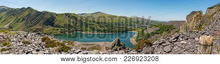 View From Dinorwic Quarry, Gwynedd, Wales, Uk - With Llyn Peris, The Dinorwig Power Station Faciliti