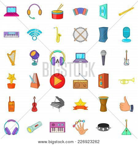 Deejay Party Icons Set. Cartoon Set Of 36 Deejay Party Vector Icons For Web Isolated On White Backgr
