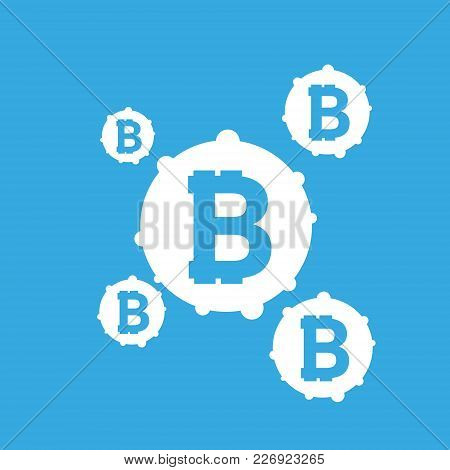 Bitcoin Sign Icon For Internet Money. Crypto Currency Symbol And Coin Image For Using In Web Project