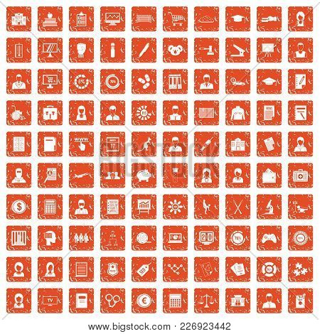 100 Statistic Data Icons Set In Grunge Style Orange Color Isolated On White Background Vector Illust