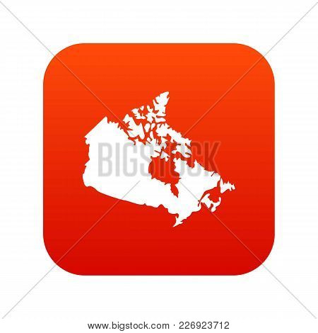 Canada Map Icon Digital Red For Any Design Isolated On White Vector Illustration