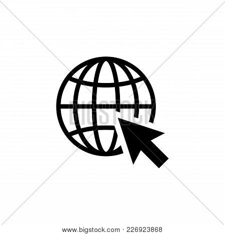 Go To Web Icon In Flat Style Isolated On White Background. Website Pictogram. Internet Icon In Black