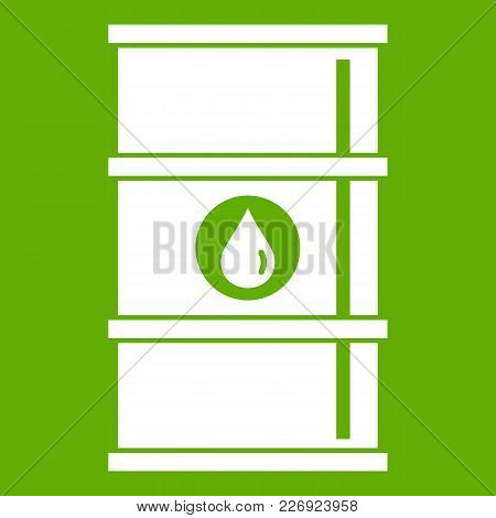 Oil Barrel Icon White Isolated On Green Background. Vector Illustration