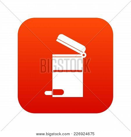 Steel Trashcan Icon Digital Red For Any Design Isolated On White Vector Illustration