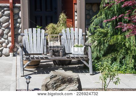 Front Porch Scene In Small Town, Washington State.