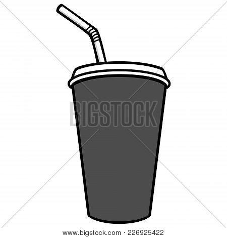 Fountain Drink Illustration - A Vector Cartoon Illustration Of A Restaurant Fountain Drink.
