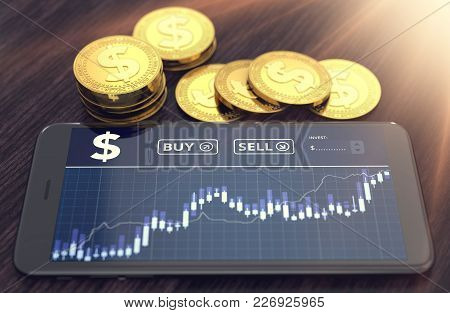 Smart Phone With Dollar Trading Chart On-screen And Piles Or Stack Of Golden Dollar Coins. Dollar Tr