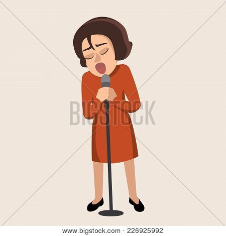 Cartoon Girl Singing Into Microphone -  Vector Illustration In Flat Style