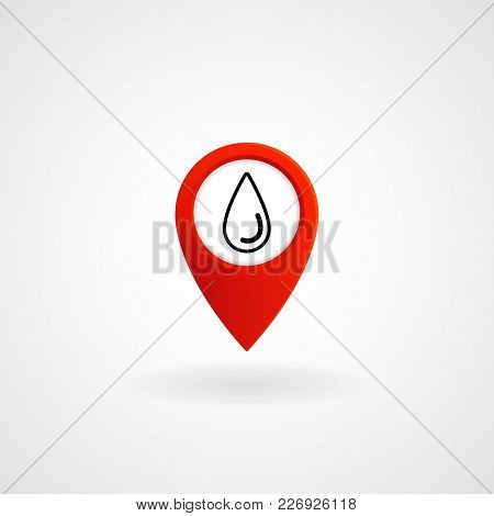 Red Location Icon For Water Station, Vector, Illustration, Eps File