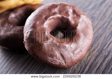 Chocolate Donuts In Close Up