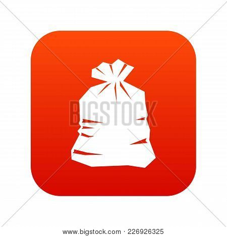 Garbage Bag Icon Digital Red For Any Design Isolated On White Vector Illustration