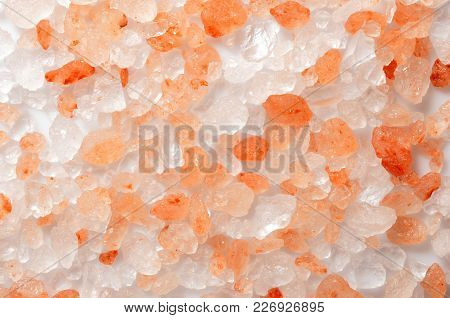 Himalayan Salt Texture, Top View Closeup Photo On A Surface Of Pink And White Color Crystal Of Himal