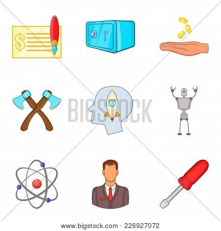 Productive Work Icons Set. Cartoon Set Of 9 Productive Work Vector Icons For Web Isolated On White B