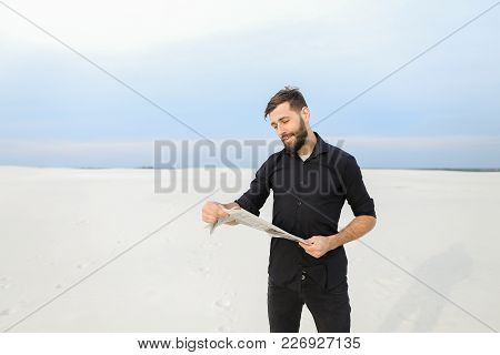 Doctor Read Advertisements In Newspaper, Young Man Looking For Country Cottage Area To Buy For Famil