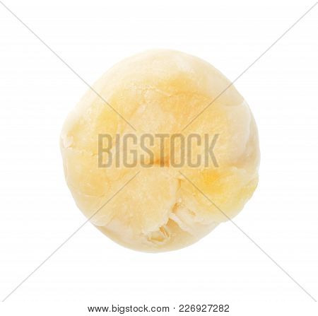 Isolate Chinese Pastry, A Bottom View Closeup Photo Of Chinese Pastry Or Moon Cake Isolate On Bright