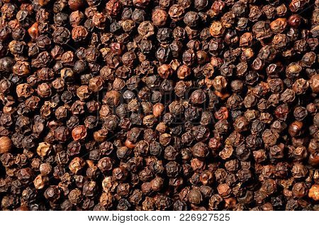 Dried Black Pepper Grain Pile, A Top View Closeup Photo On Surface Of Dry Black Pepper Grains Pile P