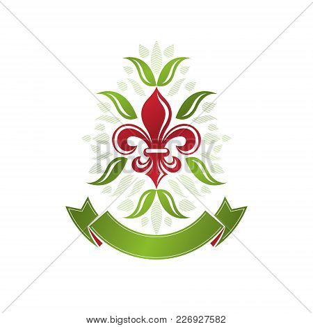 Retro Vintage Insignia Created With Lily Flower. Vector Design Element, Organic Natural Product Embl