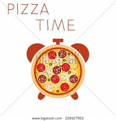 Pizza With Mushrooms, Salami, Tomato And Sausage. Pizza Time. Snack Time. Illustration For Advertise