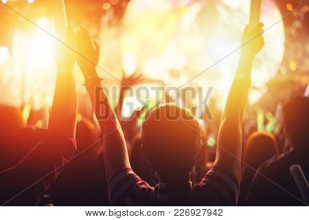 Rock Concert Party Event. Music Festival And Lighting Stage Concept. Youth And Fan Club Concept. Peo