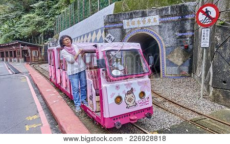 Wulai, Taiwan - November 15, 2017: Mountain Narrow-gauge Railway On 15 November 2017 In Wulai, Taiwa