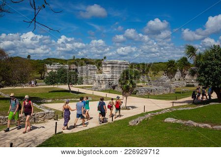 Tulum, Mexico - February 3,2018: Majestic Ruins In Tulum.tulum Is A Resort Town On Mexicos Caribbean