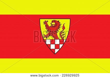 Flag Of Unna District In Central North Rhine-westphalia, Germany. Vector Illustration