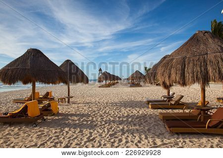Playa Paraiso, Mexico - February 4, 2018: On  The Play Paraiso At Caribbean Sea Of Mexico. This Reso