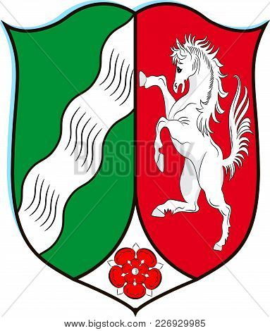 Coat Of Arms Of North Rhine-westphalia Is The Most Populous State Of Germany. Vector Illustration