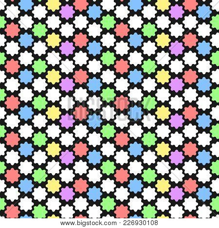 Geometric Pattern With Abstract Ornament In Pastel Colors. Bold Geometry Print In Art Deco Style. Se