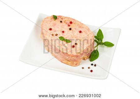 Canned Cooked Ham Isolated On White Background. Selective Focus.