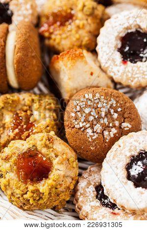 Assorted Mixed Cookies Background Dessert. Selective Focus.
