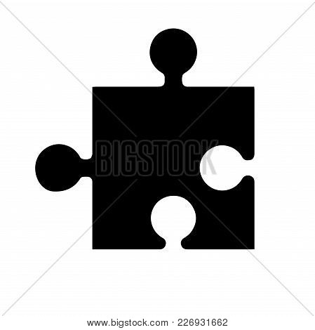 Black Silhouette Element Game In The Puzzle. Application Icon. Vector