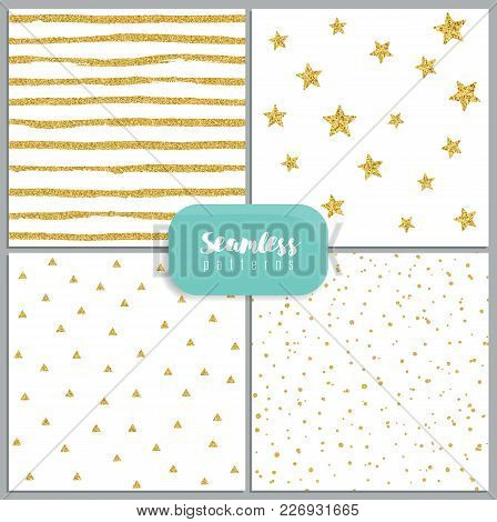Set Of Vector Seamless Patterns With Circles, Stripes, Stars, Triangles, Made Of Gold Glitter On Whi