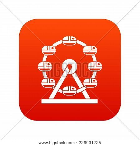 Giant Ferris Wheel Icon Digital Red For Any Design Isolated On White Vector Illustration