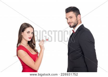 Girlfriend Aiming At Boyfriend With Valentines Arrow Isolated On White