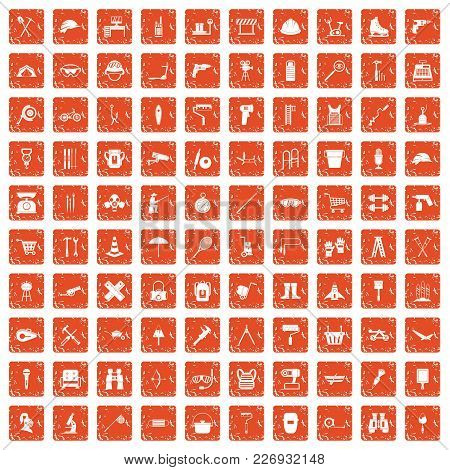 100 Tackle Icons Set In Grunge Style Orange Color Isolated On White Background Vector Illustration