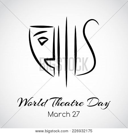Vector Theatre Emblem. World Theatre Day Greeting Card
