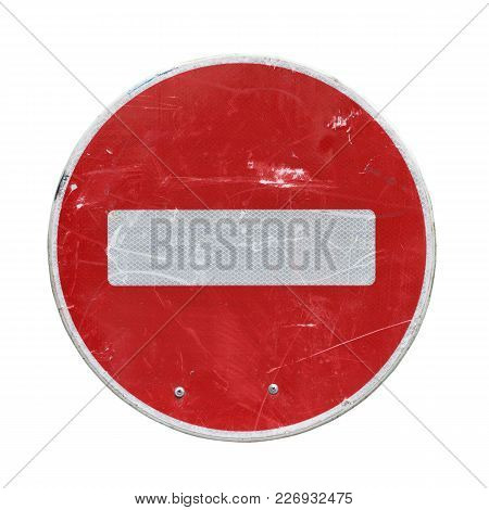Old Red Stop Road Sign Isolated On White Background.