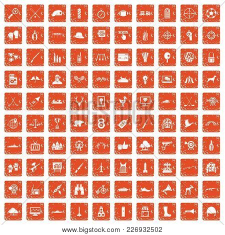100 Target Icons Set In Grunge Style Orange Color Isolated On White Background Vector Illustration