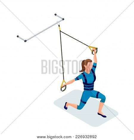 Isometric Infographic 3d Illustration With Girl Doing Suspension Workout With Straps, Ems Fitness Ou