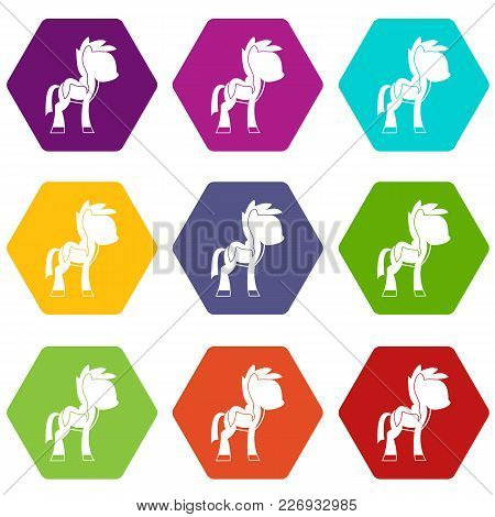 Little Pony Icon Set Many Color Hexahedron Isolated On White Vector Illustration